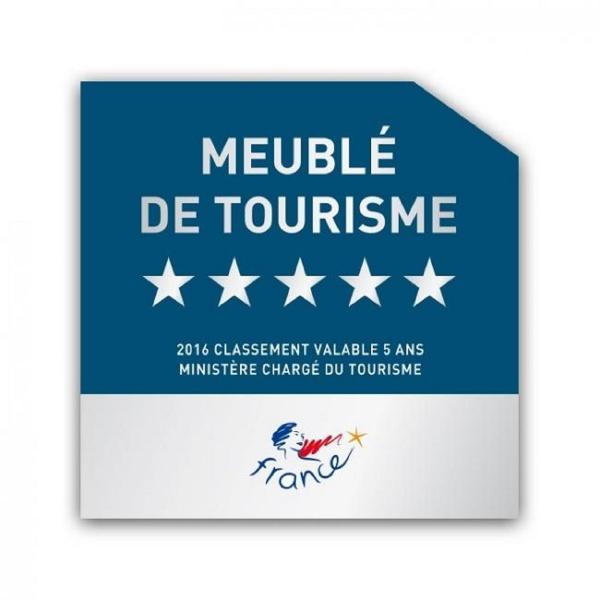 Gite classé en 'Meublé de Tourisme' 5***** Obtenu en Février 2016