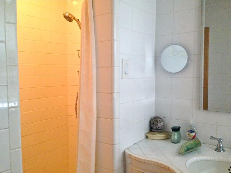 Large walk-in tiled shower. Enjoy homemade soaps.