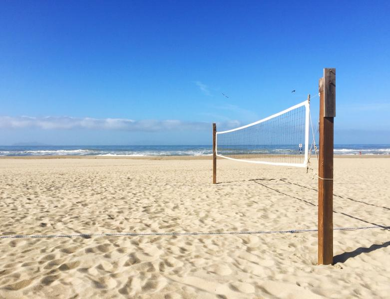 A volleyball court is just steps away from your doorstep.