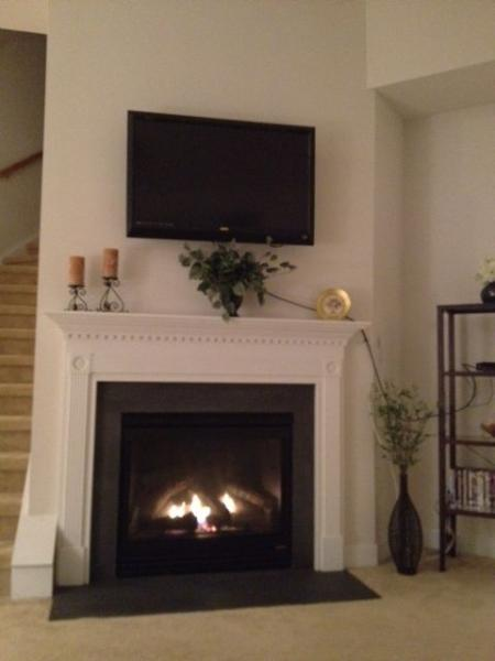 Gas fireplace on main level