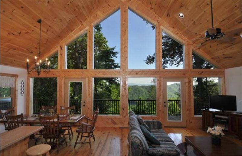 CABIN INTERIOR, FACING LAKE w/ SMOKY MOUNTAIN NATIONAL PARK IN BACKGROUND