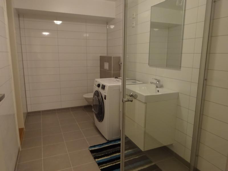 Bathroom equipped with shower, WC, washing machine. Towels, soap, shampoo, slippers provided