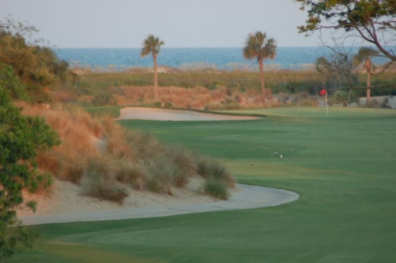 Enlarged view of the fairway and ocean directly in front of house.