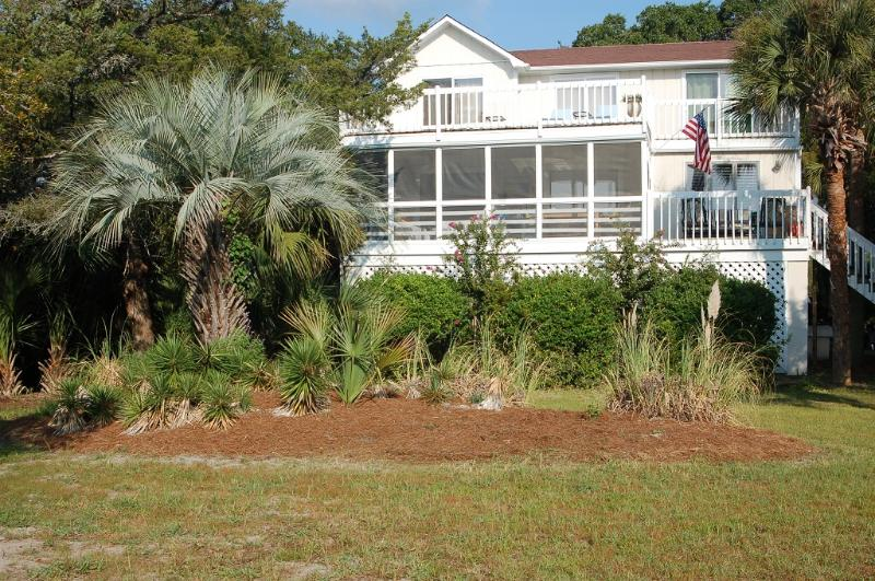 Front view of house.  Huge screened porch, large, private sundeck.