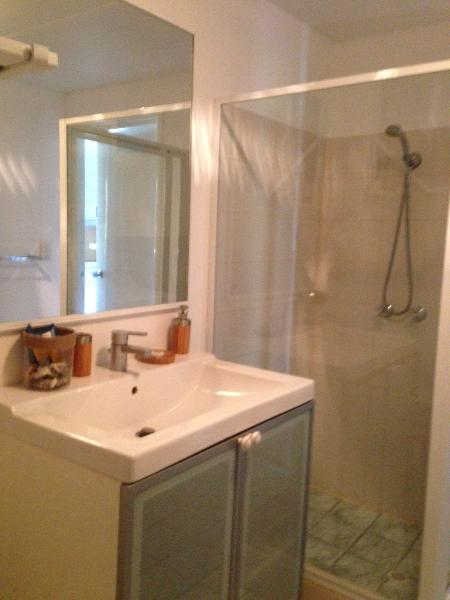 Vanity and large shower in bathroom. Also toilet and washing machine