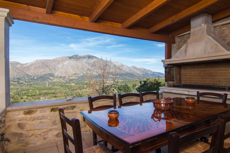 Spacious veranda with charcoal barbecue and outdoor dining table
