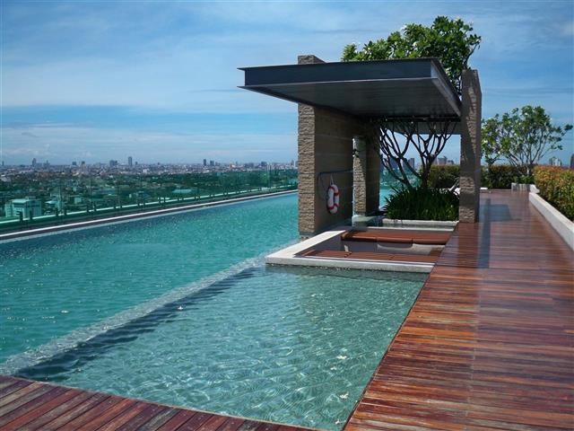 out door swimming pool at roof top 27th floor with panoramic view of Bangkok