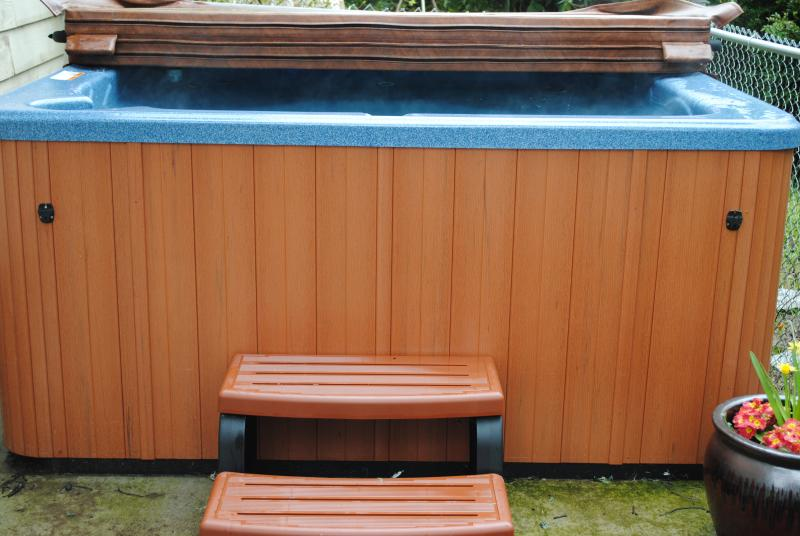 hot tub behind home
