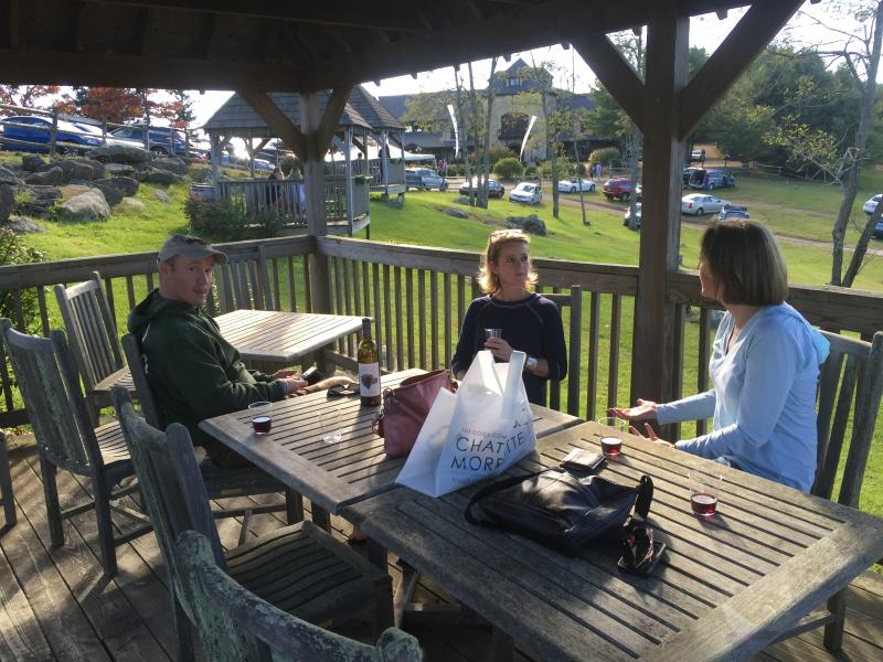 Sharing a bottle of wine at Chateau Morrisette