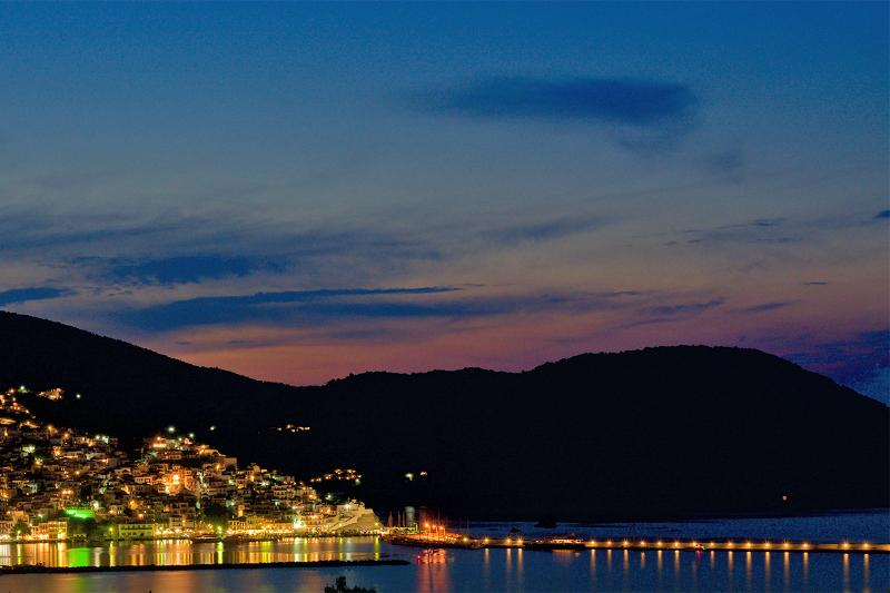 Skopelos traditional town as seen from the private balcony.