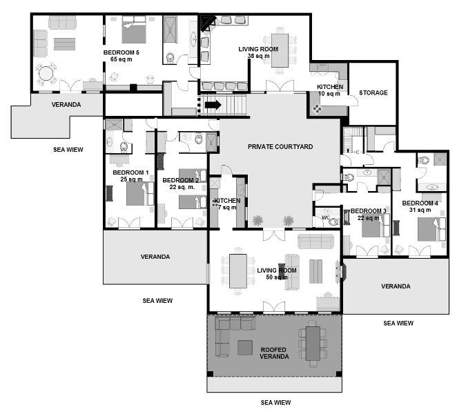 Floor plan of upper area