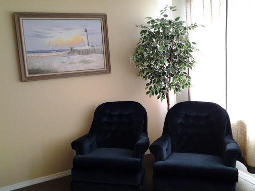 Sit in these Comfortable Chairs and View the Flat Screen TV, or Swivel and look at the Sand and Surf
