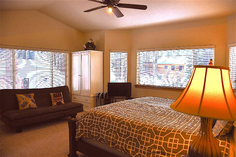Master Bedroom - fully furnished with King Size Bed, Sofa Bed and Flat Screen TV