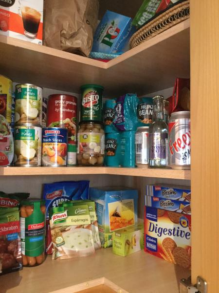Food cupboards well stocked. Please remember to replace what you use. It's self catering after all