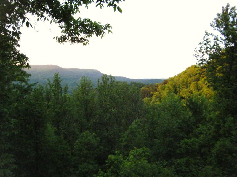 The view from Mary's Cottage deck and great room across the Smoky MT foothills.