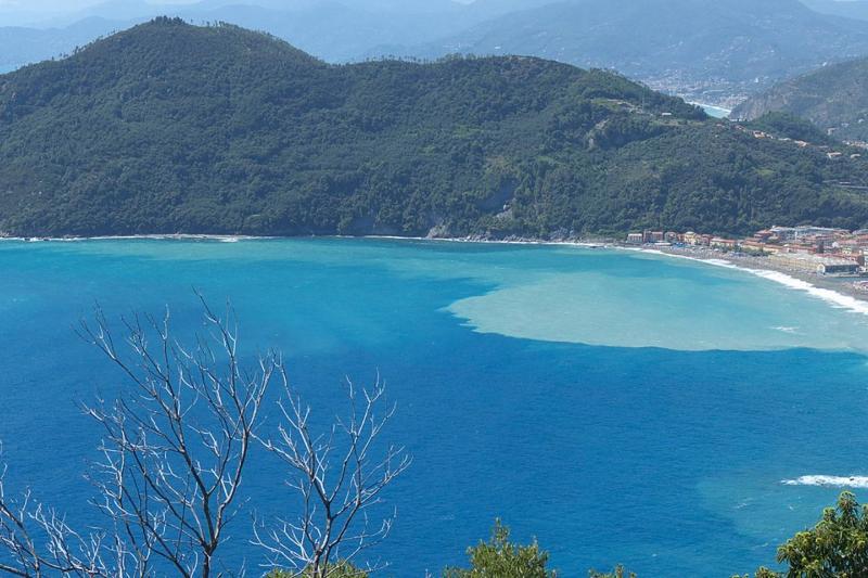 Vista da Punta Baffe su Riva. A destra si intravede Sestri Levante