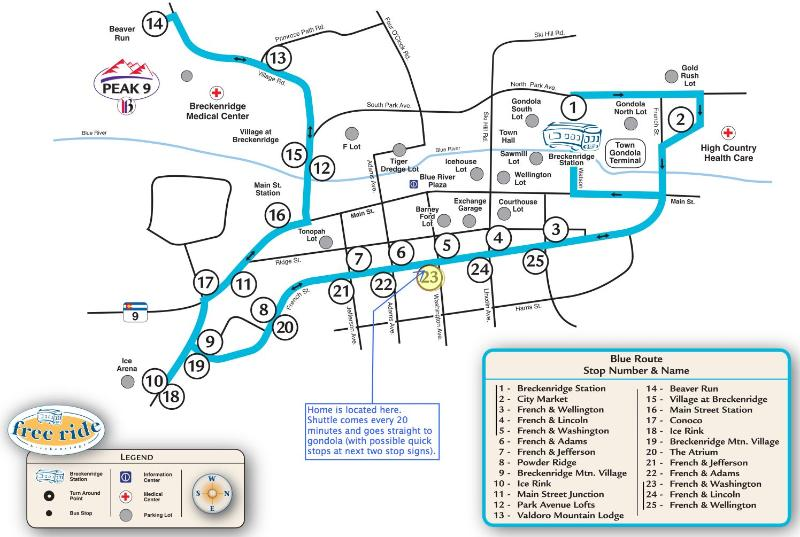 'Free Ride' shuttle map shows the stop right outside the house. Just a 5-minute ride to the gondola
