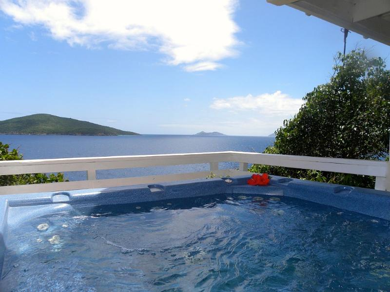 5 person Jacuzzi overlooking the Atlantic. Sit back and enjoy an adult beverage.