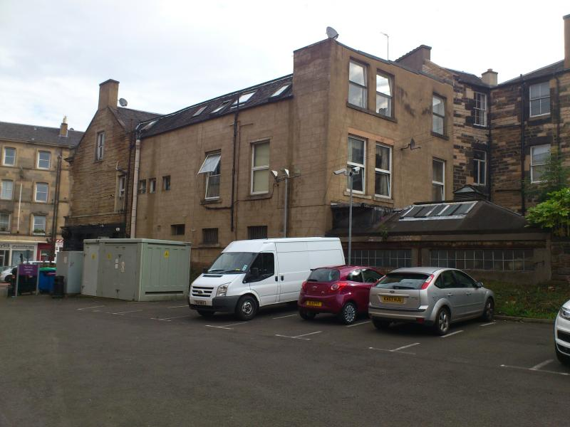 The entrance is around the back of the building from the car park of the Premier Inn Hotel