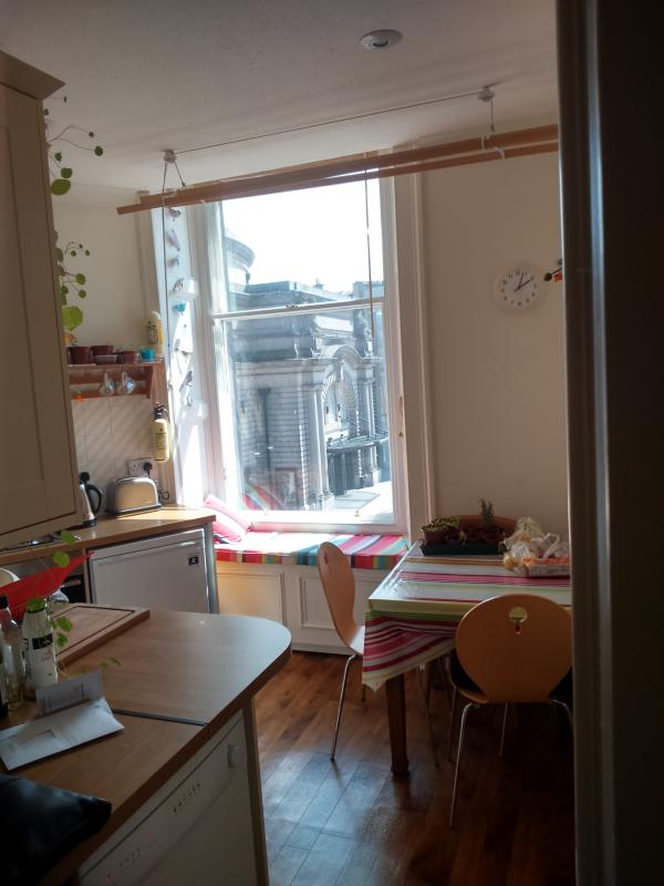 Sunny window seat in Kitchen for people watching around the Usher Hall