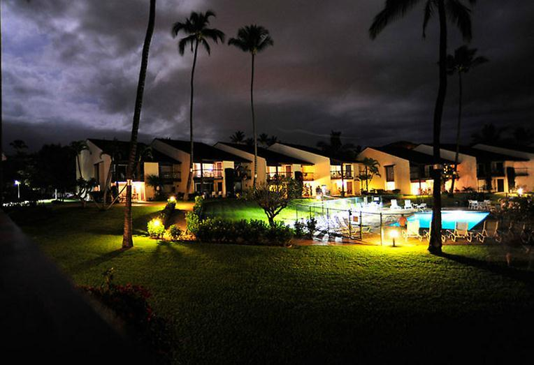 Night view of pool from the Lanai