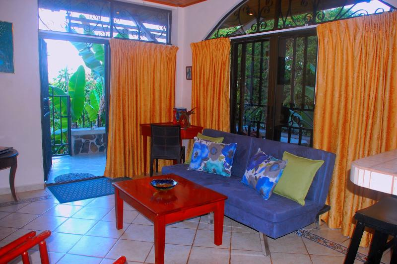 Living room looking onto terrace