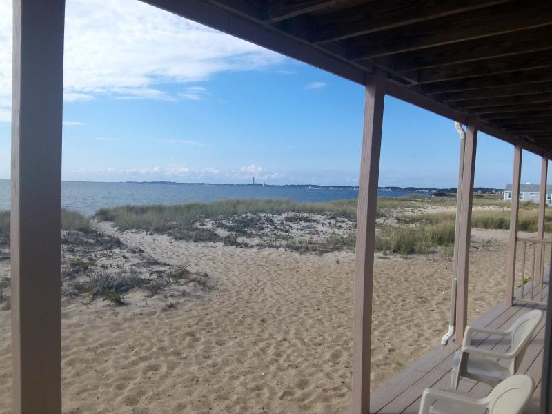 The beach is just a few steps from the back deck.