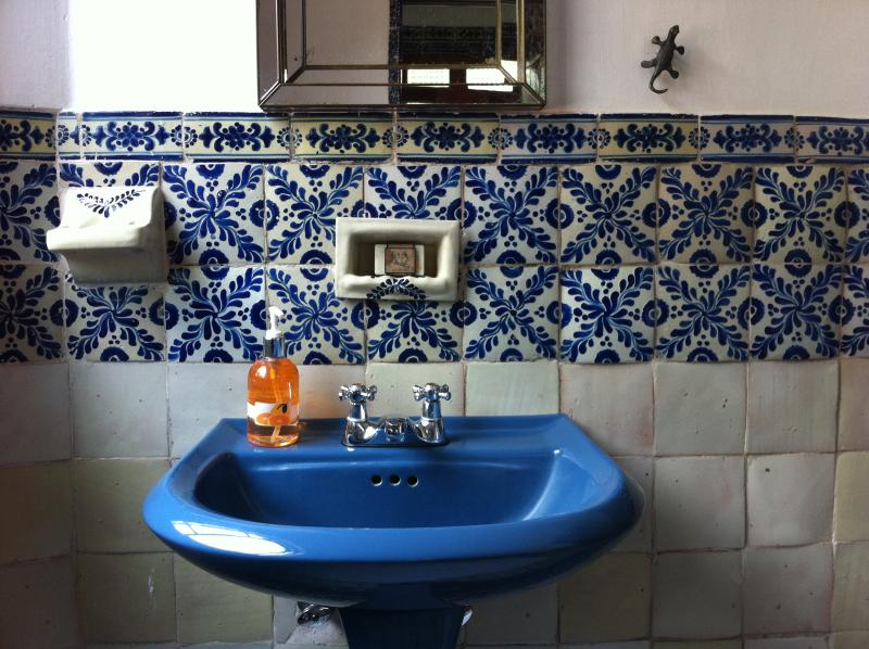 Talavera tile bathroom