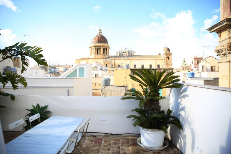 Marsala Cathedral  can be seen from the private panoramic roof terrace.
