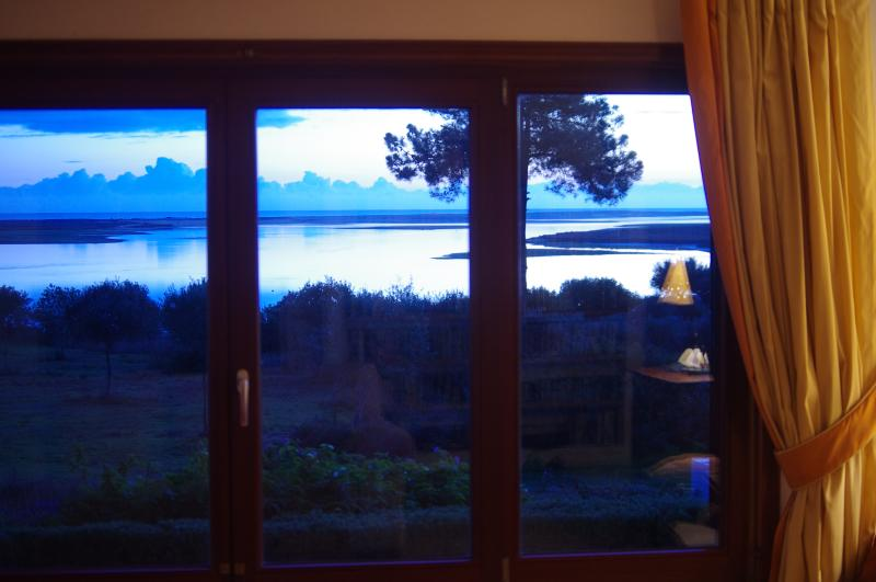view from the living room at dusk