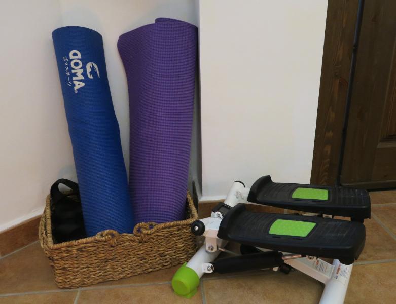 Yoga mats and stepper machine.