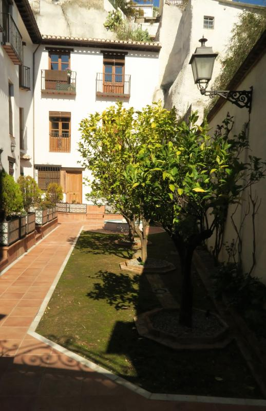 The apartment is in a tranquil residential complex.