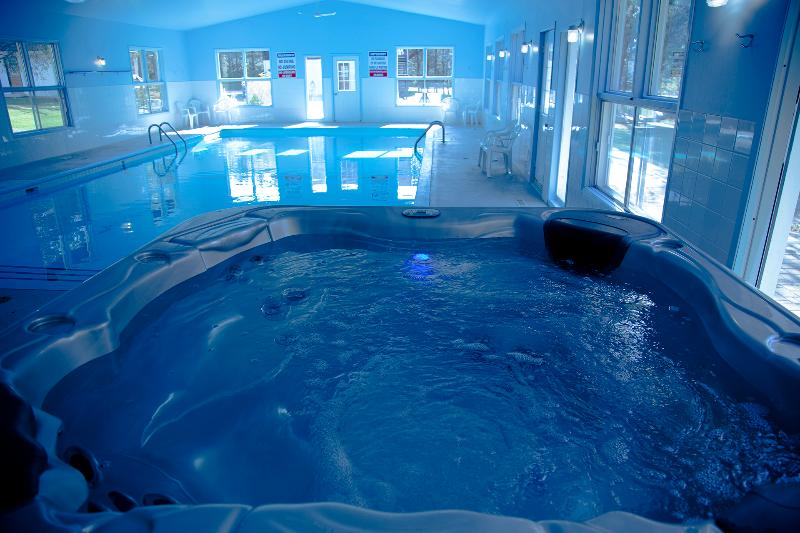 Our indoor pool and hot tub just 2 minutes from the villas. (located on our main site)