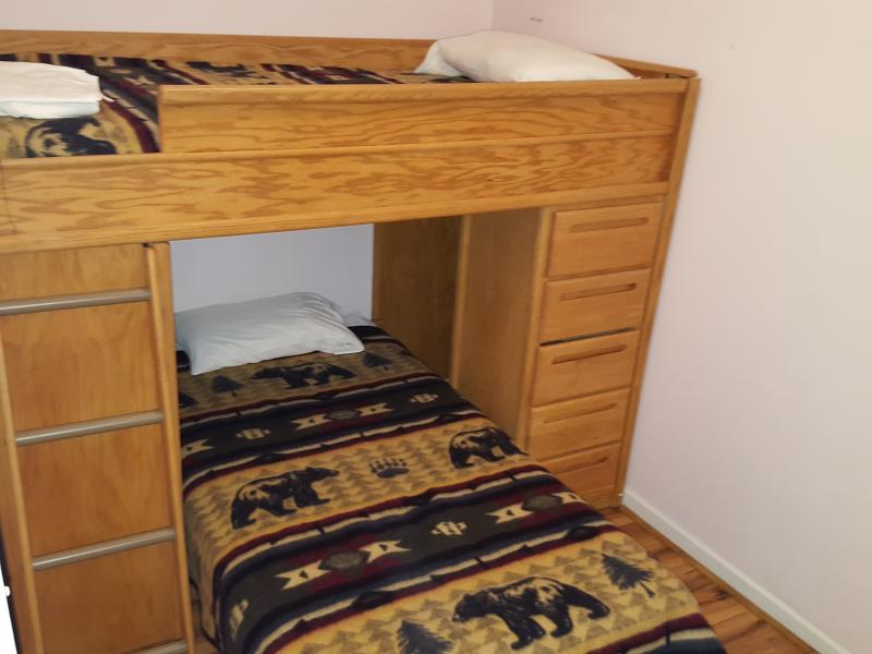 Guest room with twin over twin bunk beds