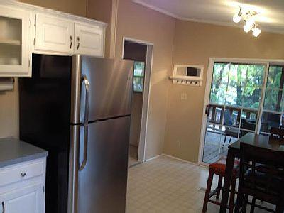 New refrigerator with a view of the sliding glass doors