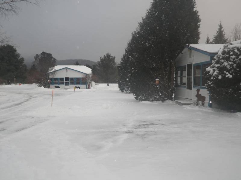outside the cottage in the winter