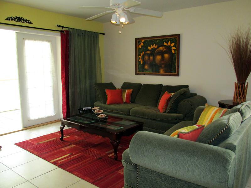Living room area comfortably seats 5-6 persons