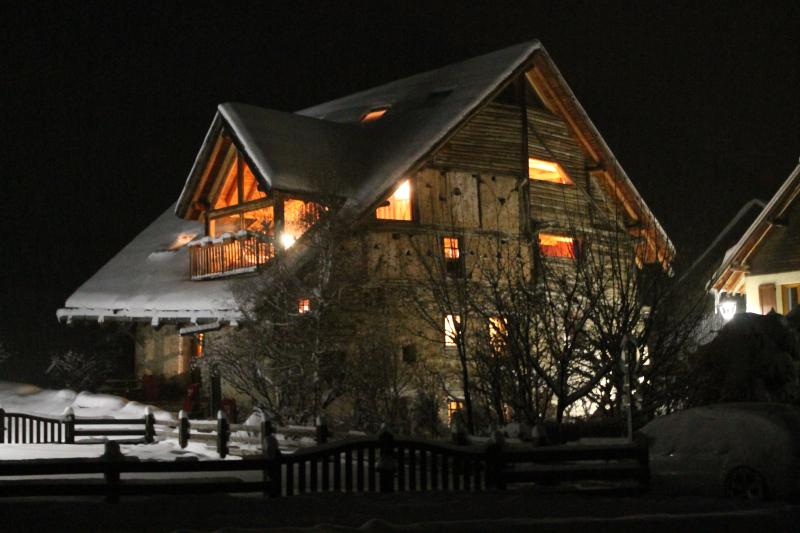 The chalet at night