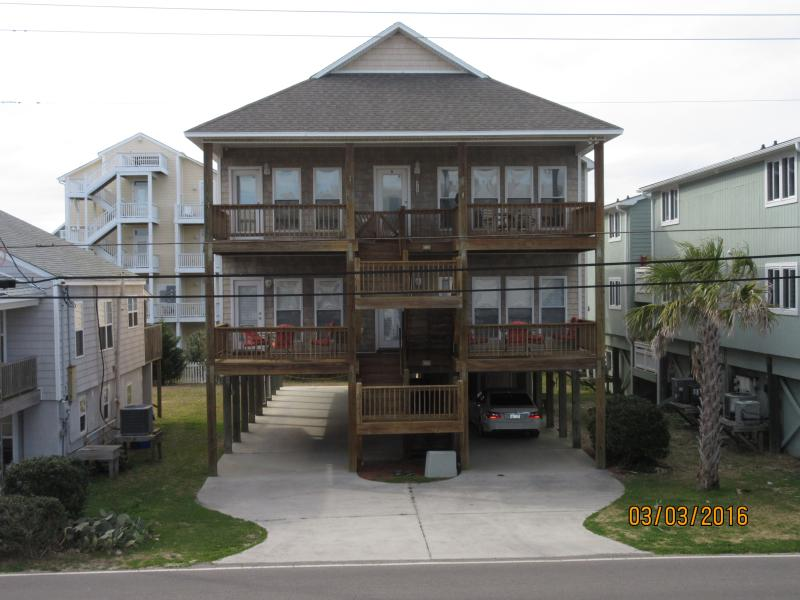 Silver Seas Duplex Condo across from the ocean with wooden walkway to wide life-guarded sandy beach
