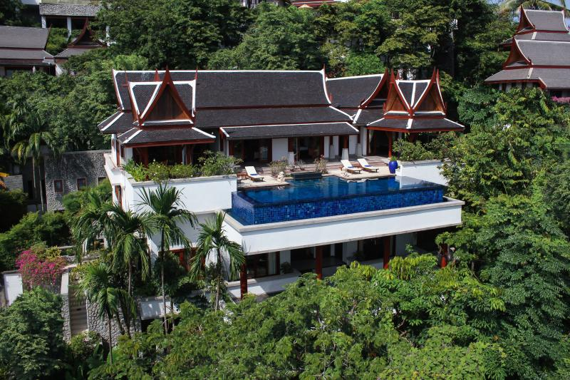 The villa, on a hillside 50 m above sea level