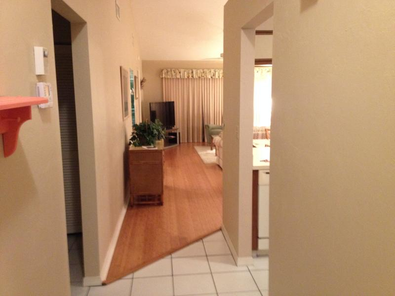 Entryway; kitchen on rt, 2nd bedroom on left, thru dining area, to living room, with lanai past LR