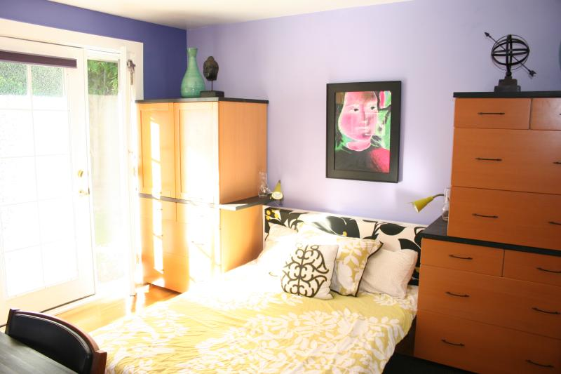 Bedroom with queen bed is quiet and comfortable