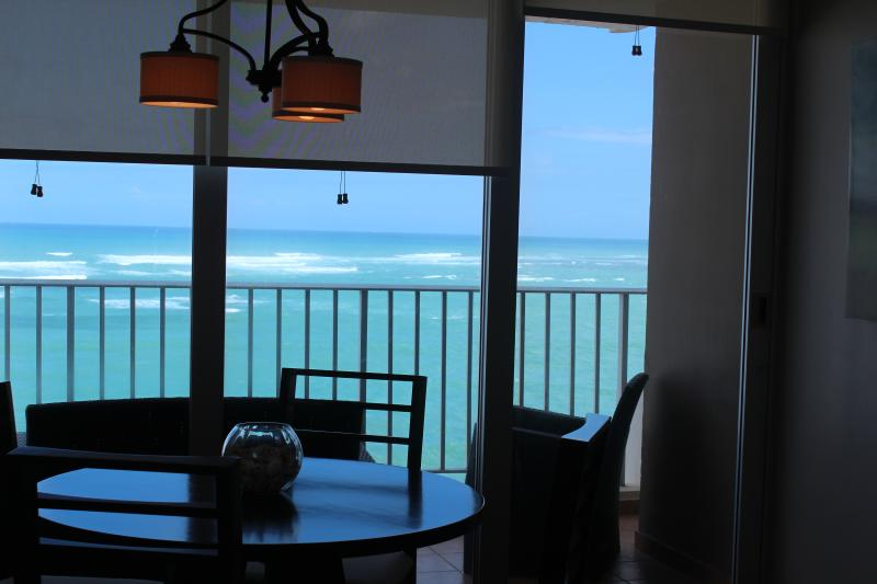 Looking out at Atlantic Ocean from dining area and balcony.