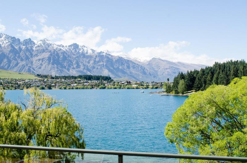 Remarkables mountain range and Lake Wakatipu from the deck