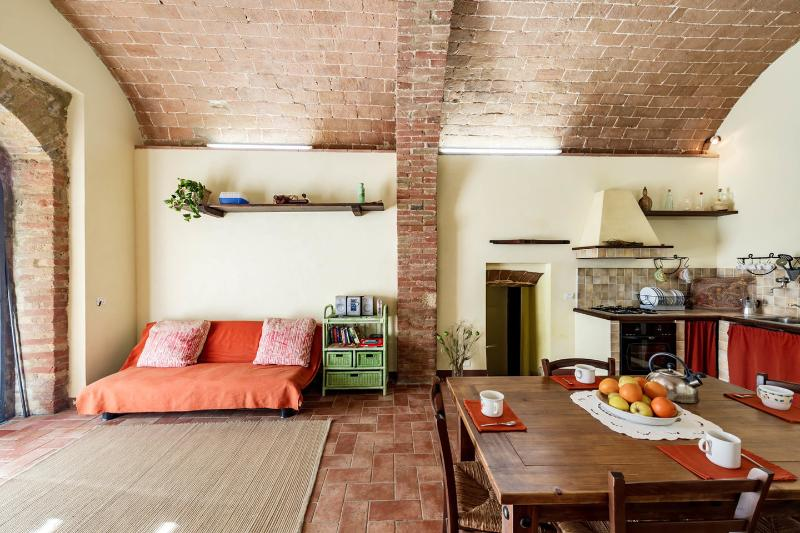 Rustic apartment in ancient Tuscan village with 2 bedrooms and shaded terrace, vacation rental in Colle di Val d'Elsa