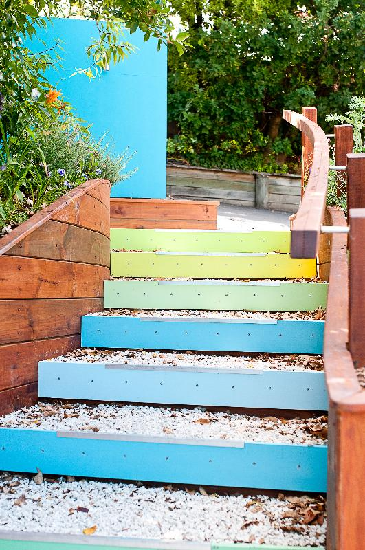 When you come down the colourful stairs ...