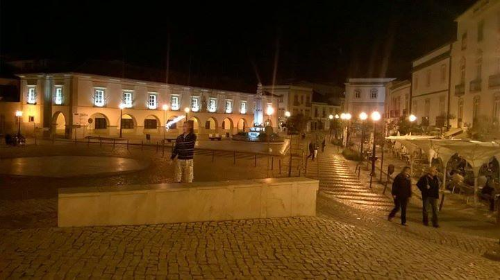 Tavira square at night. You can sit in one of the many restaurants and watch bands play.