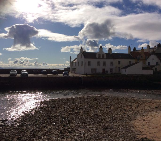 At low tide you can cross from the house to this esplanade via a series of stepping stones!