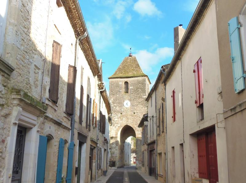 View of Duras historic Clock Tower from front of property - blue shutters top right..!