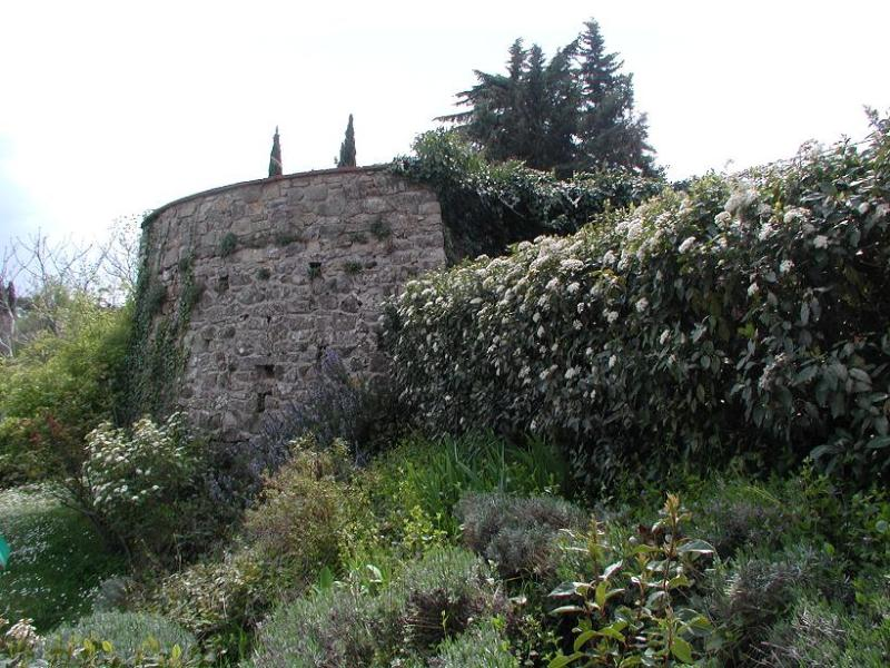 Ruins of the middlage tower in the garden. Resti della torre di guardia medioevale nel giardino